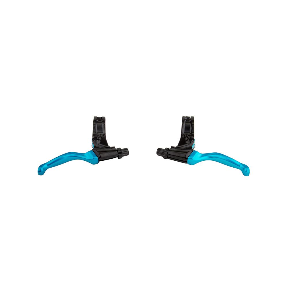 Evoke BMX MTB Brake Lever Pair BLACK BLUE 22.2 Clamp