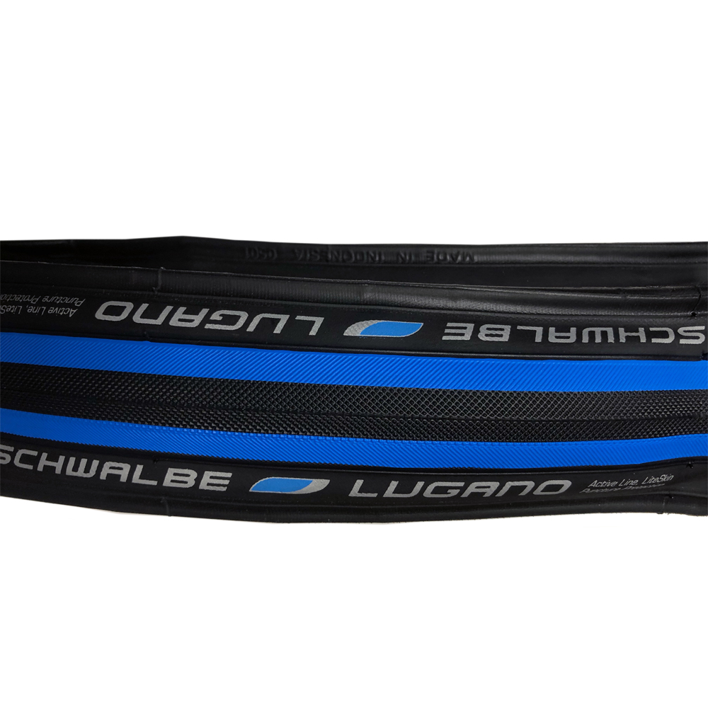 Schwalbe Lugano 700x23 Folding Road Clincher Brand New Black//Blue Stripe